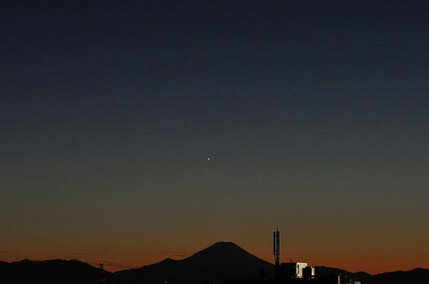 1月3日、富士山の上の水星と金星?