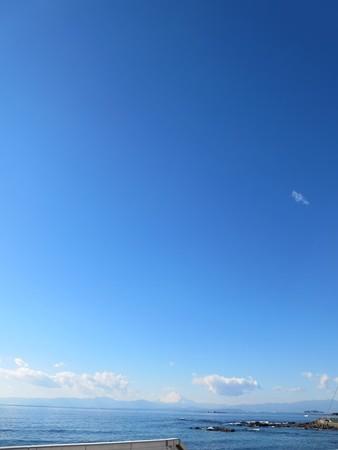 長者ケ崎近くで相模湾と富士と青空と海。なんとも青々している。