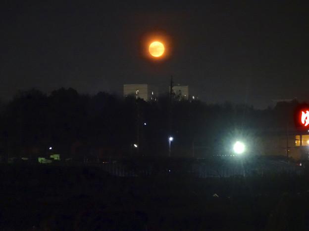 昇ったばかりで、赤みが濃い月(今年初の満月) - 8