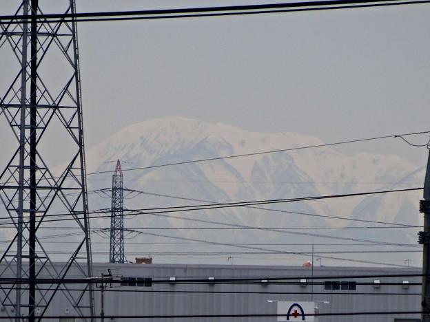小牧原駅ホームから見えた、雪を戴く(たぶん)伊吹山 - 2
