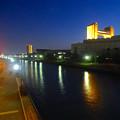 写真: 旗屋橋から見た堀川沿いの夜景 - 4