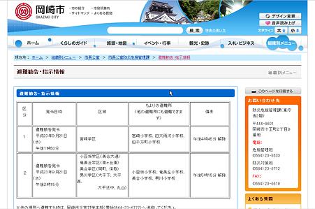 岡崎市公式HPの避難勧告・指示情報(2011/9/22撮影)