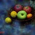 写真: 卓上の果物と水差し セザンヌtouch.......
