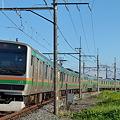 Photos: 朝焼けスカイブルー 宇都宮線 上り