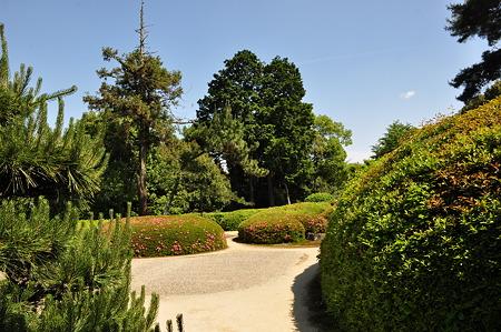 きれいな刈り込みの庭園