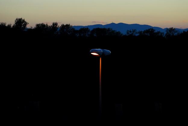 夕方の街路灯