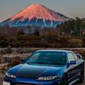 Photos: 赤く染まる富士とシルビア 03