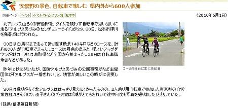 安曇野の景色、自転車で楽しむ 県内外から600人参加