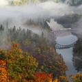 霧に煙る只見線1橋