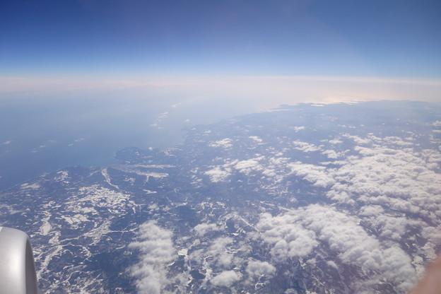 機窓から見る久慈市付近