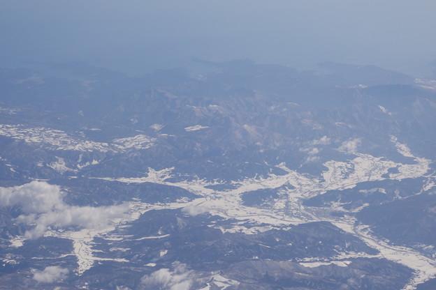 機窓から見る遠野市付近