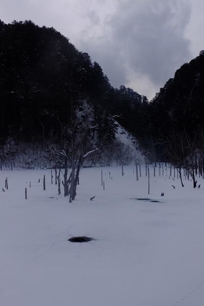 長野県木曽郡王滝村自然湖、凍結と積雪で雪原の大地のよう
