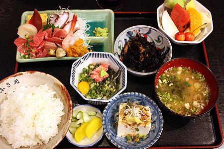 西千葉「中華料理 和食 ふさ元」 お刺身ミニ豪華盛合定食 1000円