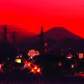 京緋色に浮かぶ富士