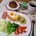 Photos: 黒糖パンの朝食
