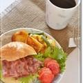 ベーコンとわさび菜のベーグルサンド