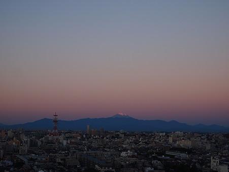 朝焼けと富士