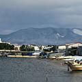 造道漁港と東岳