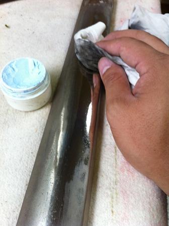 ハンマーレール磨き作業