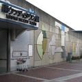 兵庫県三田市の神鉄南ウッディタウン駅前の白ポストと駅入口。(2014年)