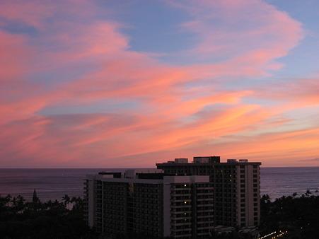 2010ハワイ。ワイキキの夕焼け。