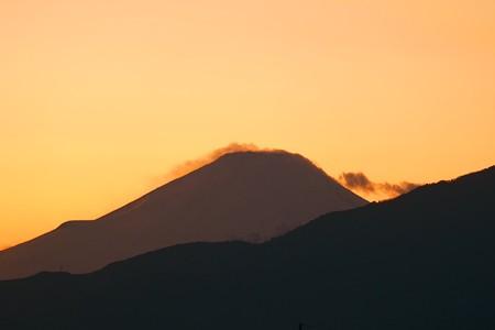 2014.12.18 駅前 富士山 夕焼