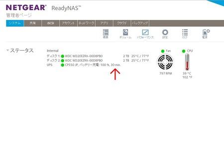 2014.12.28 机 ReadyNAS 102 管理画面