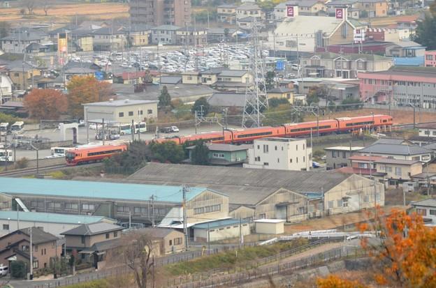 富士山公園から見下ろす253系特急きぬがわ5号