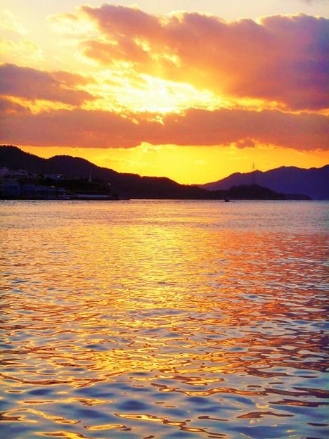 黄金色に輝く瀬戸の海