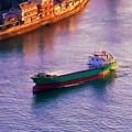 夕暮れの尾道水道を行く大型船舶~標高185mからの眺望~