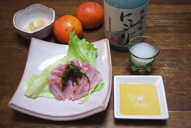 IMGP3322東広島市、賀茂鶴純米吟醸にごり、赤エイの造り