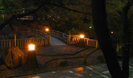 橋と燈火と木々の影