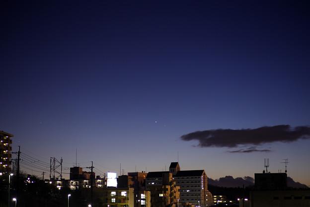 夕空の金星と水星