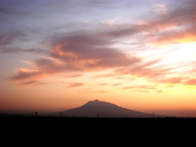 夕焼け 岩木山