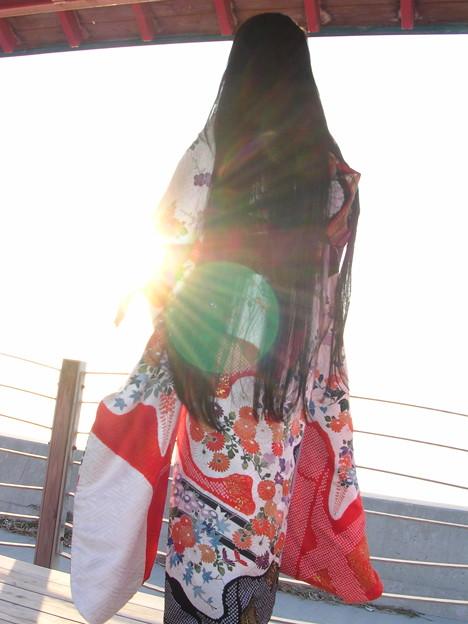 【夕陽と振袖と黒髪と…】
