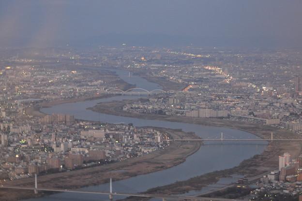 機内より大阪の街